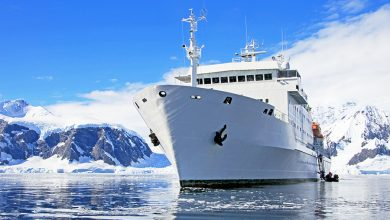 Big cruise ship in Antarctic waters, Antarctica